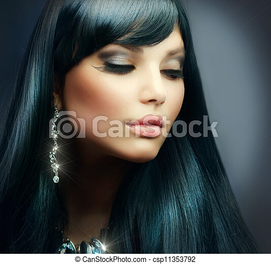 brunette szőr, girl., alkat, ünnep, egészséges, hosszú, gyönyörű - csp11353792