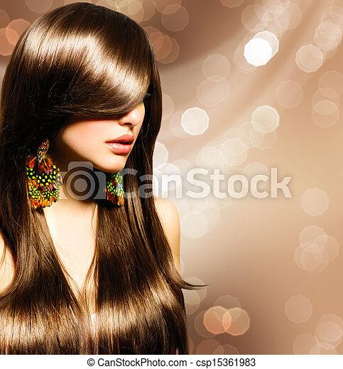 brunette szőr, girl., barna, egészséges, hosszú, gyönyörű - csp15361983
