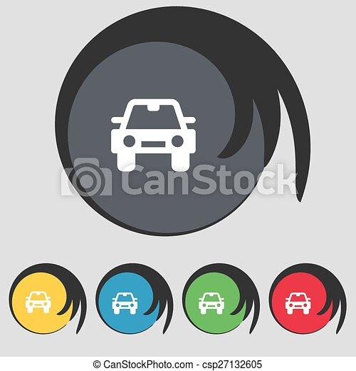 buttons., színezett, autó, cégtábla., vektor, öt, jelkép, ikon - csp27132605