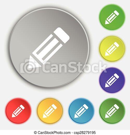 ceruza, buttons., lakás, cégtábla., vektor, öt, jelkép, ikon - csp28279195
