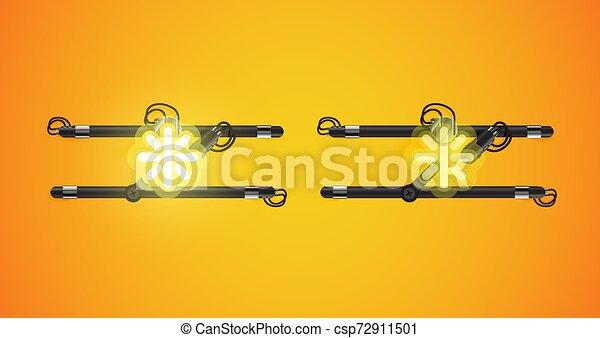 charcter, izzó, el, neon, gyakorlatias - csp72911501
