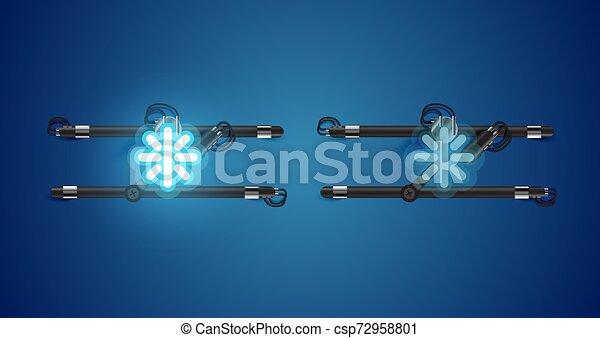 charcter, izzó, kék, el, neon, gyakorlatias - csp72958801