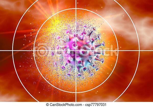 coronavirus, ábra, medically, céltábla, fogalom, 3, látási - csp77797031