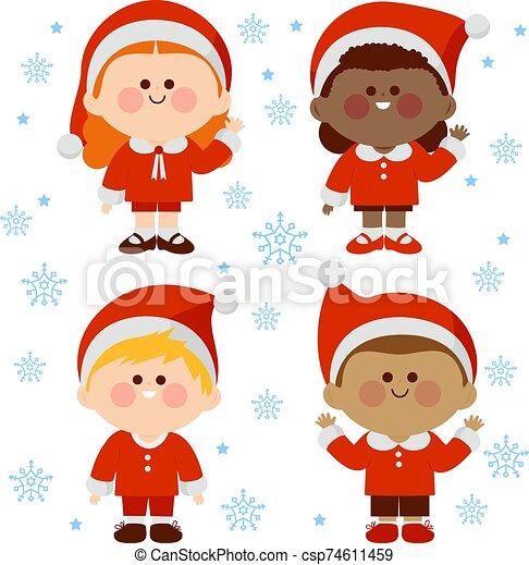costumes., gyerekek, karácsony, ábra, csoport, vektor, különböző, klaus, öltözött, szent - csp74611459