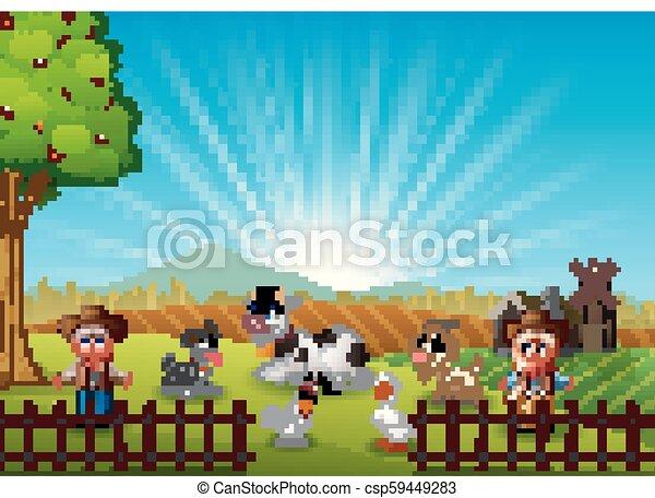 cowgirl, tanya, reggel, állatok, cowboy - csp59449283
