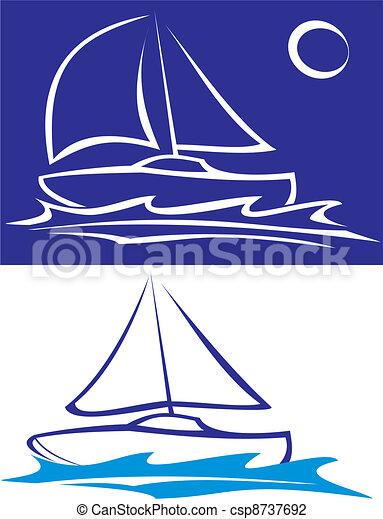 csónakázik, -, tenger, vitorlázás - csp8737692