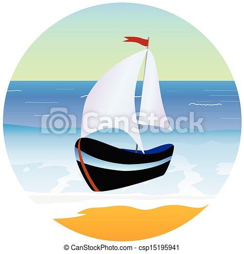 csónakázik, vektor, tengerpart, karikatúra, ábra - csp15195941