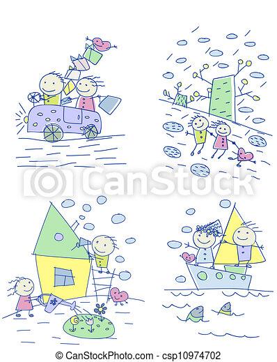 család, gyermekek, rajz - csp10974702