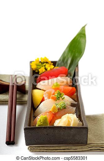 csapás, tányér, sushi, aprófa, japán - csp5583301