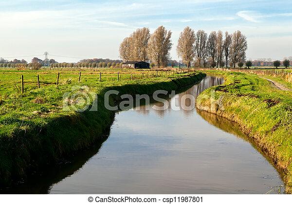 csatorna, tanya, holland, épület - csp11987801