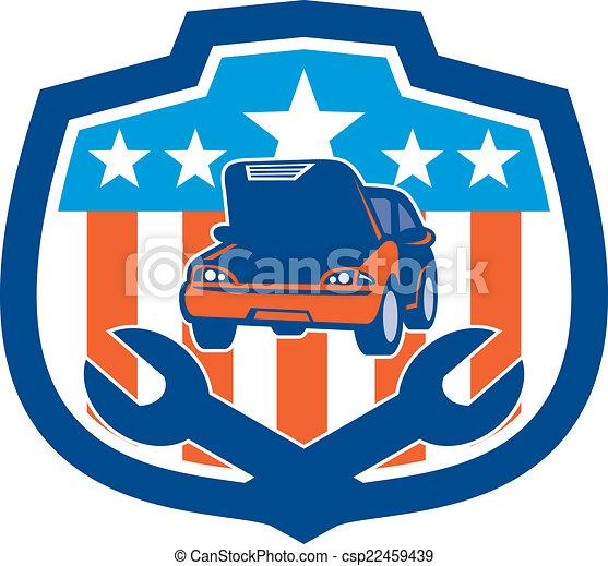 csavarkulcs, autó megjavítás, retro, pajzs - csp22459439