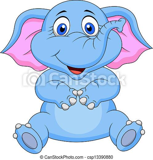 csecsemő, csinos, karikatúra, elefánt - csp13390880