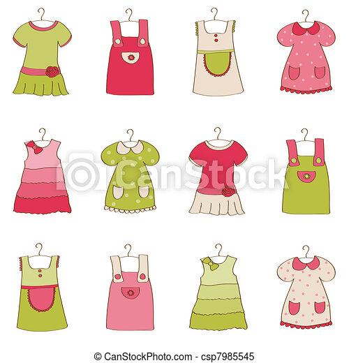 csecsemő lány, ruha, gyűjtés - csp7985545