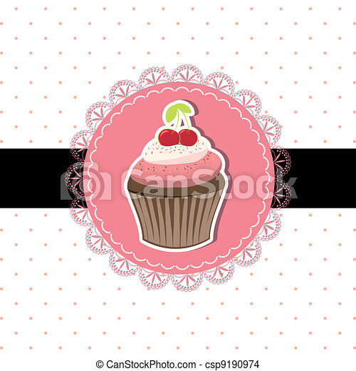 cseresznye, cupcake, kártya, meghívás - csp9190974