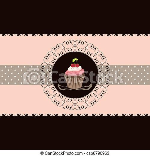 cseresznye, cupcake, kártya, meghívás - csp6790963