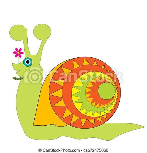csiga, háttér, elszigetelt, karikatúra, fehér - csp72475060
