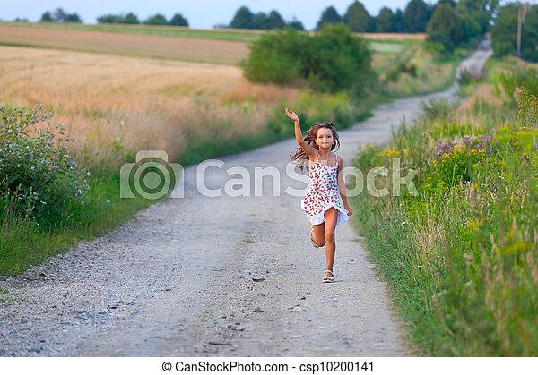 csinos, hét, nyár, év, futás, napnyugta, leány, filds, nap, út - csp10200141