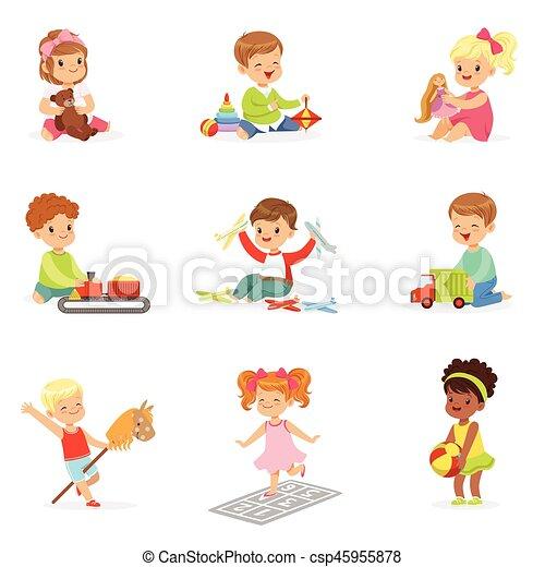 csinos, különböző, saját, élvez, gyermekek játék, -eik, játékok, apró, childhood., móka, birtoklás - csp45955878