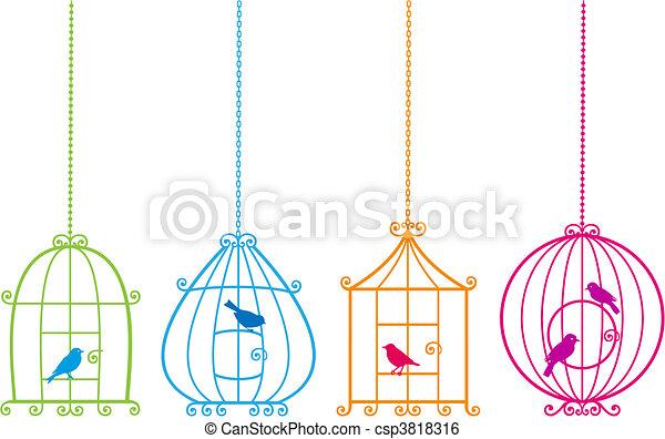 csinos, madarak, bájos, birdcages, v - csp3818316