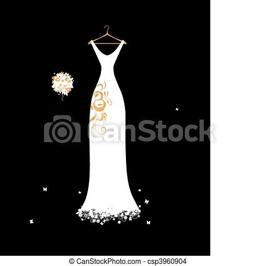 csokor, esküvő, virágos, fehér, hirdetmények, ruha - csp3960904