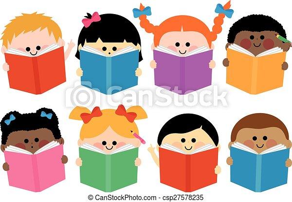 csoport, books., ábra, vektor, felolvasás, gyerekek - csp27578235