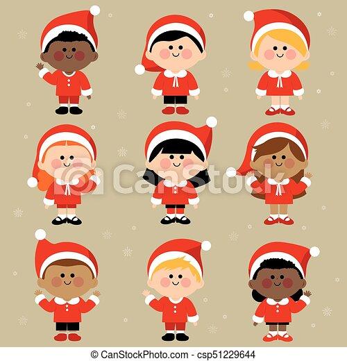 csoport, costumes., öltözött, klaus, ábra, gyerekek, vektor, szent, különböző, karácsony - csp51229644