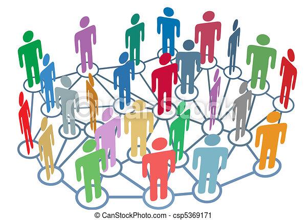 csoport, hálózat, emberek, média, társadalmi, sok, beszél - csp5369171