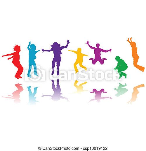 csoport, kéz, körvonal, ugrás, húzott, gyerekek - csp10019122