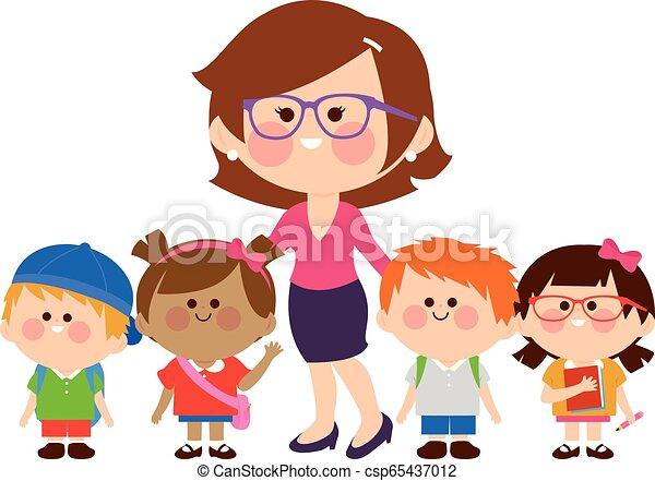 csoport, students., ábra, gyerekek, vektor, tanár - csp65437012