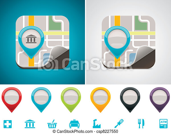 customizable, térkép, elhelyezés, ikon - csp8227550