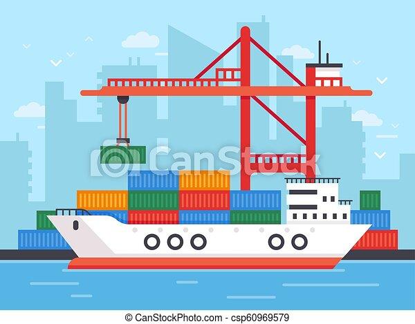 daru, lakás, terhelés teherárú, kikötő, docks., ábra, vektor, postázás rakomány, tároló, hajó, tengeri, rév, csónakázik - csp60969579