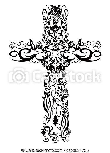 dekoráció, motívum, keresztény, tervezés, kereszt - csp8031756