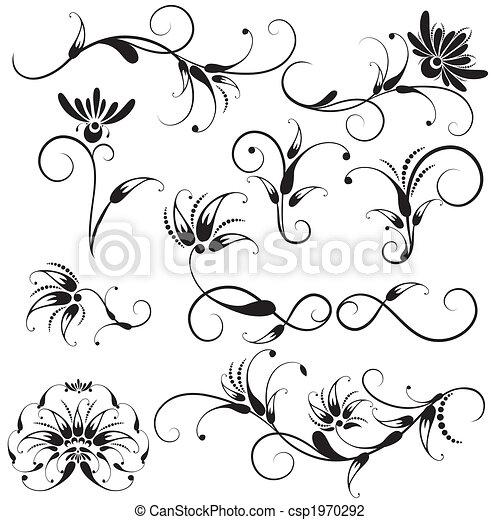 dekoratív, floral elem, tervezés - csp1970292