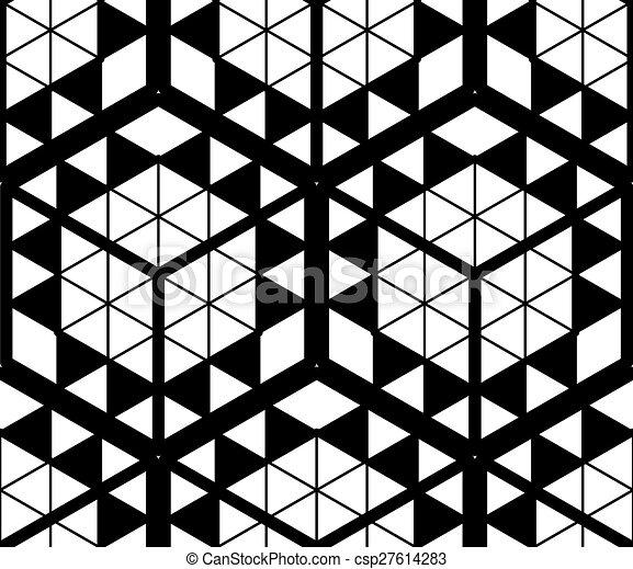 dekoratív, grafikus, háromkiterjedésű, elvont, ornament., pattern., kortárs, háttér, feljön, vektor, körülfon, vég nélküli - csp27614283