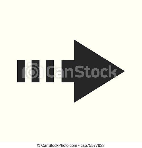design., ikon, fehér, elszigetelt, vektor, lakás, nyíl, ábra, háttér. - csp75577833