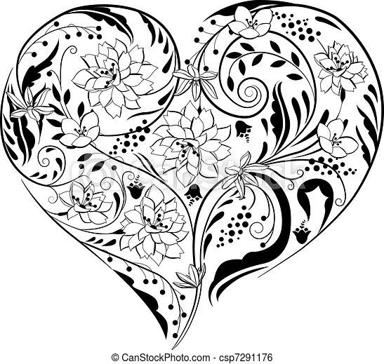 detektívek, szív alakzat, fekete, white virág - csp7291176