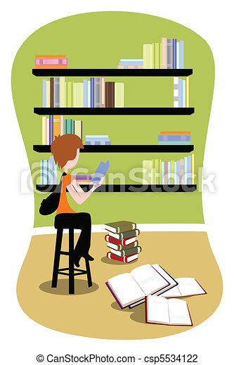 diák, könyvtár - csp5534122