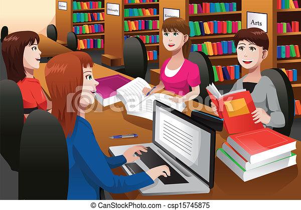 diákok, tanulás, főiskola, könyvtár - csp15745875