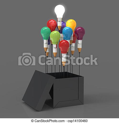 doboz, ceruza, fogalom, fény, gondolat, kreatív, kívül, vezetés, gumó, rajz, gondol - csp14100460