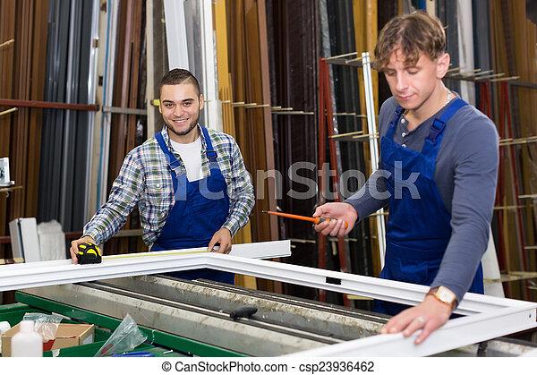 dolgozó, workmen, két, ablak, körvonal - csp23936462