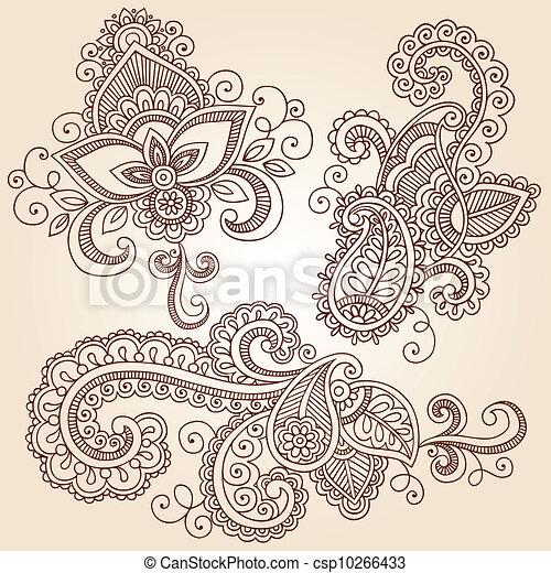 doodles, vektor, állhatatos, hennabokor, jegyzetfüzet - csp10266433