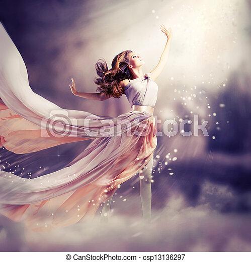 dress., leány, fárasztó, sifón, képzelet, színhely, hosszú, gyönyörű - csp13136297