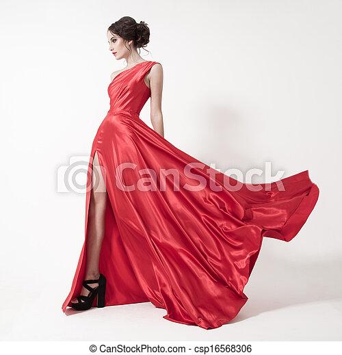 dress., szépség, fiatal, háttér., nő, fehér, csapkodó, piros - csp16568306