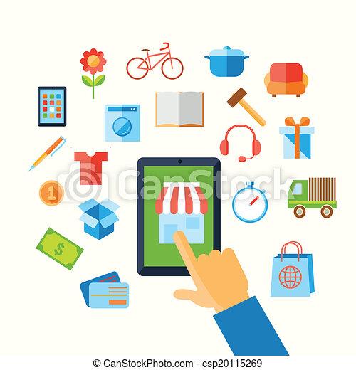 e-commerce, fogalom, bevásárlás, kéz - csp20115269