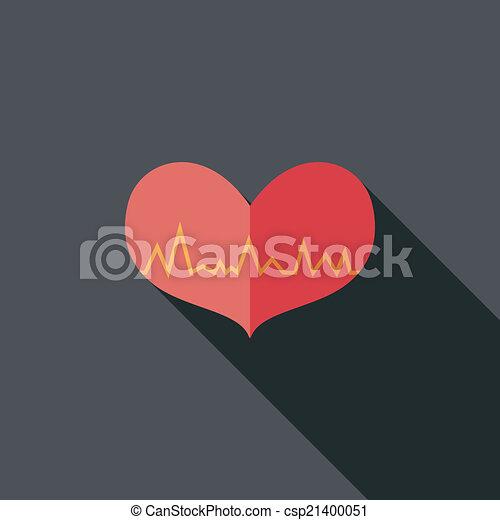 ecg, szív, lakás, hosszú, árnyék, ikon - csp21400051