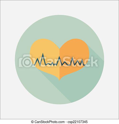 ecg, szív, lakás, hosszú, árnyék, ikon - csp22107345