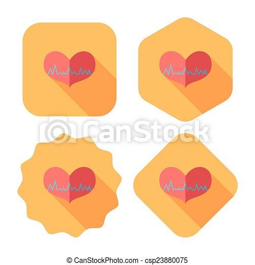 ecg, szív, lakás, hosszú, árnyék, ikon - csp23880075