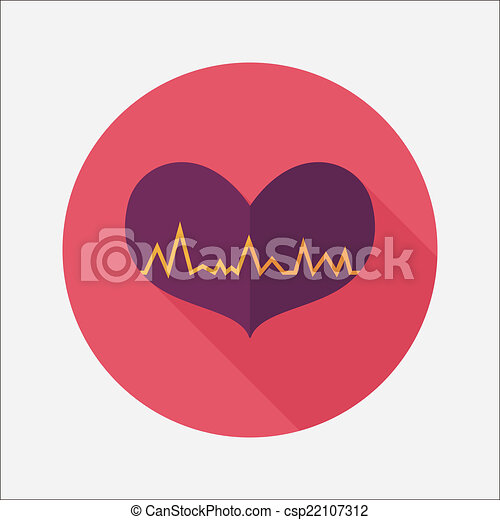 ecg, szív, lakás, hosszú, árnyék, ikon - csp22107312
