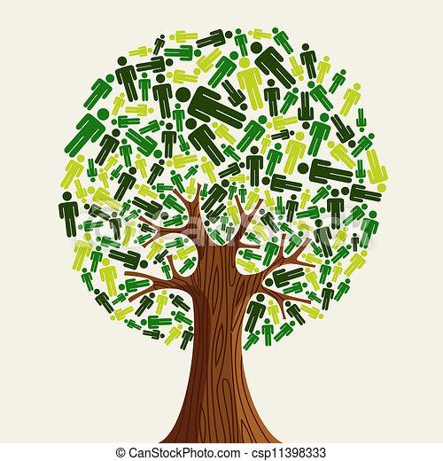 eco, fa, barátságos, emberek - csp11398333