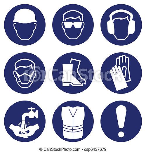 egészség, biztonság, ikonok - csp6437679